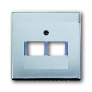 2CKA001710A3610 - Плата центральная (накладка) для 2-постовой телекоммуникационной розетки 0214, 0215, 0217, 0218, с полем для надписи, серия solo/future, цвет серебристо-алюминиевый