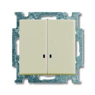 2CKA001012A2157 - Выключатель с клавишей, 2-клавишный, с подсветкой, Basic 55, слоновая кость