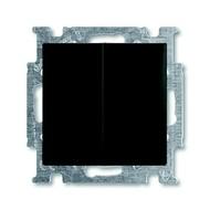 2CKA001012A2178 - Механизм 2-клавишного, 1-полюсного выключателя с клавишей, с линзой подсветки, с неоновой лампой, серия Basic 55, цвет chateau-black