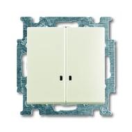 2CKA001012A2188 - Механизм 2-клавишного, 1-полюсного выключателя с клавишей, с линзой подсветки, с неоновой лампой, серия Basic 55, цвет chalet-white