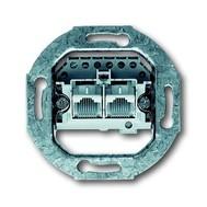 2CKA000230A0235 - Механизм 2-постовой телефонной розетки 2х8 полюсов, параллельно, RJ 11/12; RJ 45; ISDN, категория 3