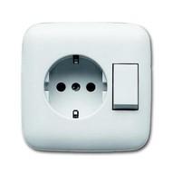 2CKA001611A0169 - Блок переключатель и розетка SCHUKO в одном корпусе, серия Reflex SI, цвет альпийский белый